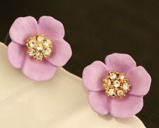 STUNNING Gold Blue Turquoise or Purple Lilac Crystal Flower Floral Stud Earrings