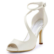 HP1565 Peep Toe Pumps High Heel Satin Prom Buckles Sandals Weding Party Shoes