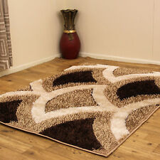 MEDIUM TO LARGE MODERN SPARKLE SHAGGY BEIGE CHOCOLATE BROWN COLOURED CARPET RUG
