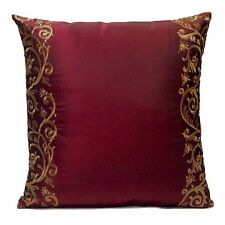 Burgundy Silk Blend Decorative Throw Pillow Cover with Tan Embroidery,Modern