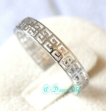 18K Whitel Gold GP Silver Letter G Ring All Size Stackable Thumb Pinky