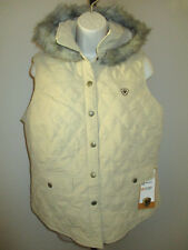 New Ariat Tan Insulated Vest Faux Fur Hood Wind Water Resistant Small or Large