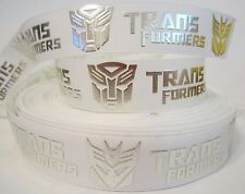 "GROSGRAIN TRANSFORMERS SILVER FOIL AND WHITE 1"" INCH RIBBON 1, 3 or 5 YARDS"