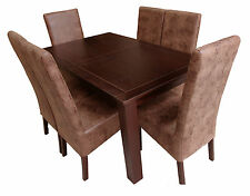 OAKDEN VENEER DINING TABLE AND 6 x VINTAGE LEATHER LOOK HIGH BACK CHAIR SET WOOD
