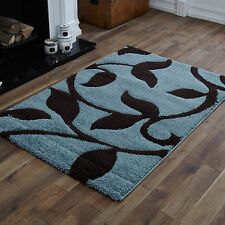 QUALITY SMALL TO EXTRA LARGE DUCK EGG BLUE CHOCOLATE BROWN CARVED SHAGGY RUGS