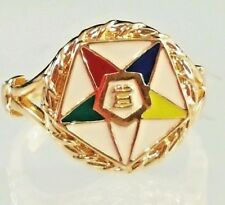 Silver Gold Masonic Ring Eastern Star Delicate Ladies sizes 5,6,7,8,9,10,11 USA