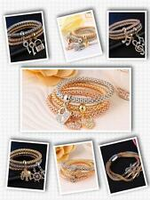 3 pcs Gold Filled Elastic Crystal Heart Charm Bracelets Bangles for Women