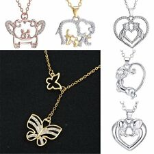Letter Animal Butterfly Elephant Monkey Dangle Crystal Heart Pendant Necklace