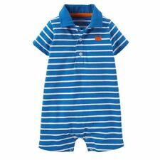 Carters Blue Short Sleeve Romper One Piece Bodysuit Baby Boy Size 3 6 Months NWT