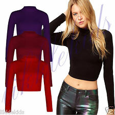 New Womens Ladies Celeb Long Sleeve Plain Crop Turtle Polo High Neck Top 8-14