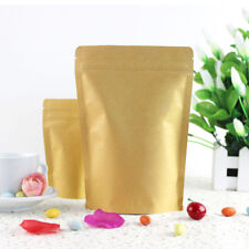 Kraft Paper Bags Pouch Stand Up Resealable Coffee Ziplock Aluminum Foil 20x30cm