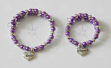 PEARL AND RONDELLE BRACELET WITH WEDDING CHARM BRIDE BRIDESMAID ETC ADULT GIFT