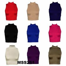 GIRLS LADIES HIGH NECK SLEEVELESS VISCOSE CROP TOP WOMENS POLO TOP SIZE 8-12