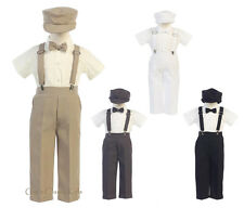 New Baby Toddler Kids Boys Suspender Pants Outfit 5 pc Set Easter Wedding G825