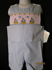 SMOCKED JON JON BLUE & WHITE STRIPE W/ SAILBOATS REMEMBER NGUYEN FULLY LINED