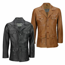Mens Black Brown Real Leather 3/4 Mid Length Retro Vintage Military Style Jacket