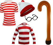 Kids Red White TShirt Hat Glasses Jumper Walking Stick Comic Fancy Dress
