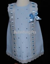 Girls Spanish A Line Slotted Ribbon Broderie Anglaise Bow Summer Dress 0-24 Mth