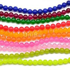 6mm Smooth Natural Jade Gemstone Loose Beads Strand 15 inch Jewelry Making