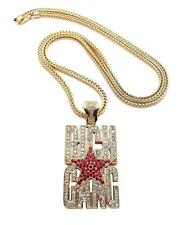 "ICED OUT RICH GANG STAR BIRDMAN PENDANT 4mm  36"" FRANCO CHAIN NECKLACE JP232M"