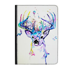 """Deer Stag Cute Animal Colour Universal 9-10.1"""" Leather Flip Case Cover"""
