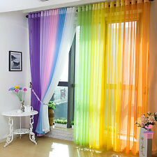 Rainbow Colors Sheer Solid Tulle Voile Door Window Curtains Valance Drape Panel