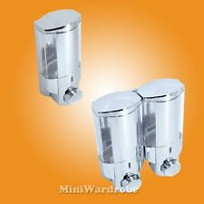 Chrome Plated Silver Pump Type Shampoo Soap Dispenser Wall Mount 1 or 2 Chamber