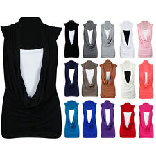 LADIES GATHERED COWL NECK STRETCH TOP WOMEN SLEEVELESS LONG VEST TOP SIZE 8-26
