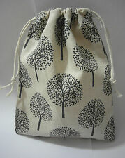 Cotton Linen Drawstring Small Bag Storage Travel Packaging Pouch Purse-Trees