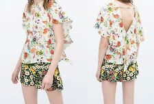 ZARA NEW ECRU FLORAL PRINTED FRILL SLEEVES BACKLESS TOP 2015 COLLECTION XS S M