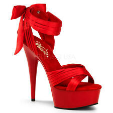 Red Satin Pin Up Heels Drag Queen Stripper Crossdresser Womans Shoes Large 13 14