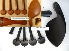 VIOLIN WOOD SET: CHIN REST, TAILPIECE, PEGS, END PIN,4/4-1/8, BROWN OR BLACK !