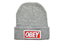 OBEY BOX LOGO BEANIE HEATHER GREY ONE SIZE FITS MOST SUPREME IMPORTED RRP$40
