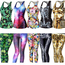 Sexy Women 3D Printed Stretchy Punk Tank Vest Skinny Leggings Tops&Tank Vest