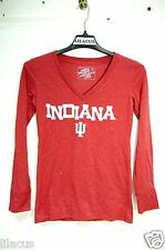 Campus Heritage Collection Women's V Neck Long Sleeve Indiana Shirt Red M