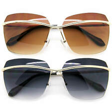 Square Oversized Fashion Sunglasses Rimless Frame Gradient Black and Brown Lens