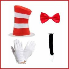 Dr Suess Cat in the Hat Bow Tie Gloves Tail Book Week Costume Fancy Dress Set