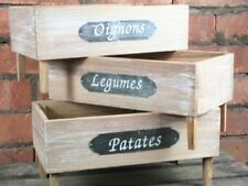 Wooden Set of 3 Boxes Kitchen Decoration Shabby Chic Vintage French Country