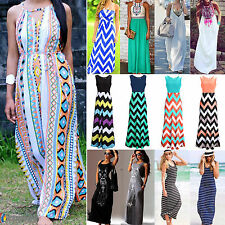 Summer Sexy Womens Long Maxi Beach Dress Sleeveless Party Evening Loose Cocktail