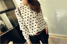 New Womens Lady Long Sleeve Loose Chiffon Heart Lapel Tops T-Shirt Casual Blouse