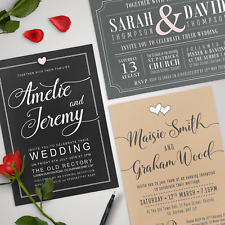 Personalised Wedding Day / Evening Invitations with Envelopes