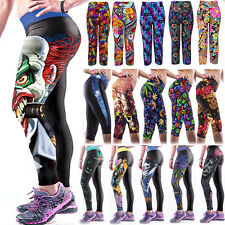 Womens 3D Yoga Gym Pants Sports Running Cropped Capri Leggings Fitness Jogging