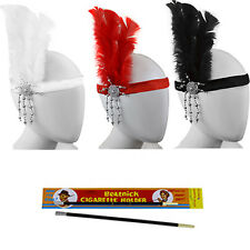 Ladies Fancy Dress Flapper Headband Feather 1930's 1920's Cig Holder Set