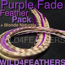 "16pc+4pcFREE PurpleFade+BlondeNaturals FeatherPck-STANDARD Lgths 7""-9.5""AuSLr"