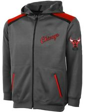 Chicago Bulls NBA Majestic Boys Full Zip Hoodie Charcoal Youth Sizes