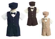 New Baby Toddler Boys Suit Shorts Outfit Wedding Easter Party 5 Pc Set G815