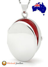 New 925 Sterling Silver Italian Oval Polished Photo Locket Charm Pendant Necklet
