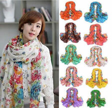 Fashion Long Cotton Voile Floral Pattern Shawl Scarf Wrap Stole For Girls/Lady