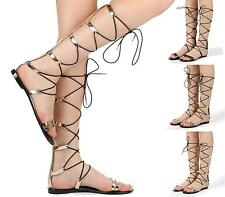 LADIES WOMENS KNEE HIGH GLADIATOR SANDALS FLAT LACE UP STRAPPY SUMMER SHOES SIZE