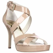 MICHAEL Kors Evie Platform Heels Shoes Sandals Nude Beige Patent Strappy New Box